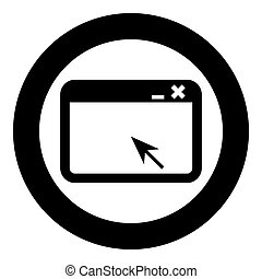 Window application with arrow Browser concept web page icon in circle round black color vector illustration flat style image