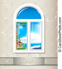 Window background. Vector art
