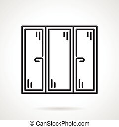 Window black line vector icon