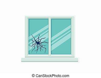 Window broken with cracked glass vector illustration. Cartoon window on brick wall