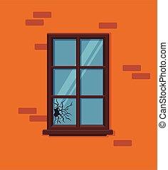 Window broken with cracked glass vector illustration.