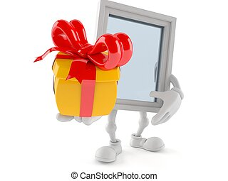 Window character holding gift