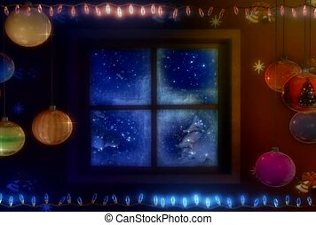 window, christmas, cabin