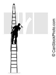 clean - window cleaner at work on a ladder