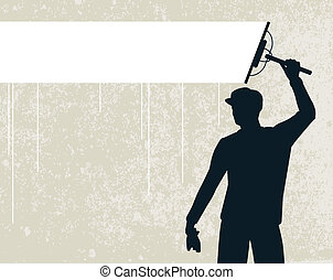 Window cleaner - Editable vector silhouette of a man...
