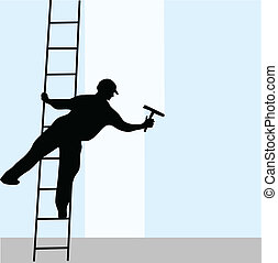 Window cleaner on the ladder