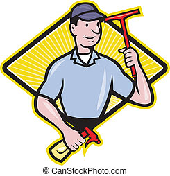 Window Cleaner With Squeegee - Illustration of window...