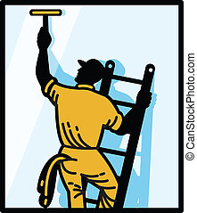 Illustration of a window cleaner worker cleaning on ladder with squeegee viewed from rear set inside square done in retro style.