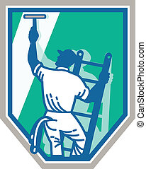 Window Cleaner Worker Shield Retro - Illustration of a...