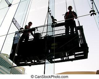window cleaners working outdoor