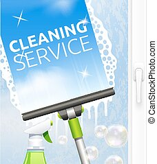 Window cleaning illustration - Window cleaning service...
