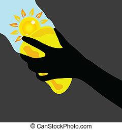 window cleaning sponge yellow with sun illustration