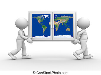 Window - 3d people - men, person carrying a window with...