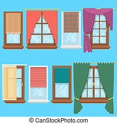Window curtains and blinds vector set