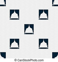 Window curtains icon sign. Seamless pattern with geometric texture. Vector