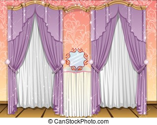 Window curtains, illustration - Window curtains, violet and...