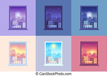 Window day time view. Sunrise and sun dawn morning noon and sunset dusk day and night stars at city house windows cartoon vector concept