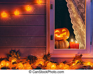 window decorated for the holiday - Happy halloween! The...
