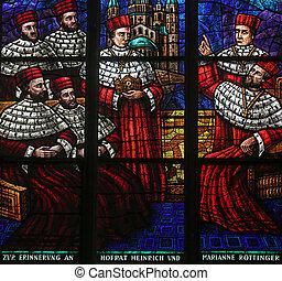 Window dedicated to Rudolf I, Stained glass in Votiv Kirche...