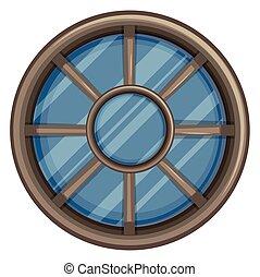 Window design with round frame