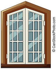 Window design with wooden frame