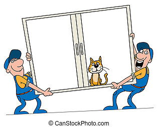 Window - Installation of windows. Workers bear a window to...