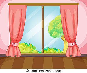 window - illustration of a window and pink curtains
