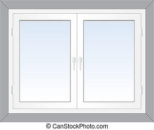 Window - Vector illustration of closed modern white plastic...