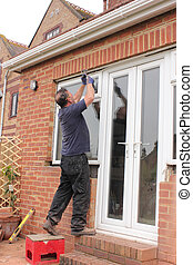 Window fitter at work