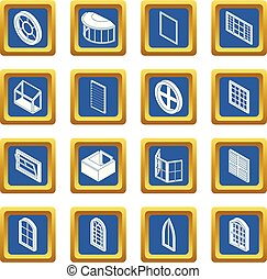 Window forms icons set blue square vector - Window forms...