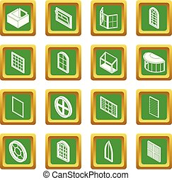 Window forms icons set green square vector - Window forms...