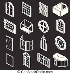 Window forms icons set grey vector - Window forms icons set...