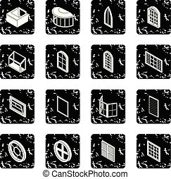 Window forms icons set grunge vector - Window forms icons...