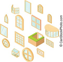 Window forms icons set, isometric style - Window forms icons...