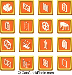 Window forms icons set orange square vector - Window forms...