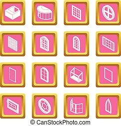 Window forms icons set pink square vector - Window forms...