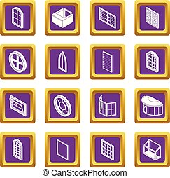 Window forms icons set purple square vector - Window forms...