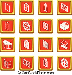 Window forms icons set red square vector - Window forms...