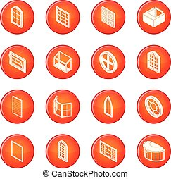 Window forms icons set red vector - Window forms icons set...