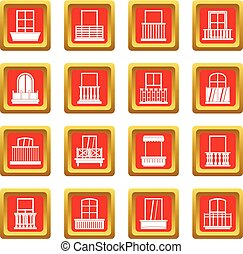 Window forms icons set red