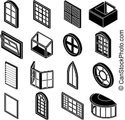 Window forms icons set, simple style - Window forms icons...