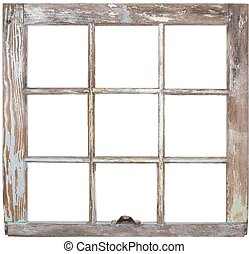 A rustic six pane window frame.