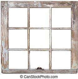Window frame - A rustic six pane window frame.