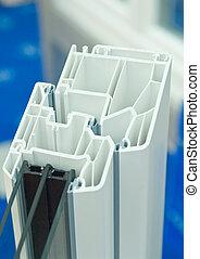 Window frame - Cutaway model of a plastic window frame