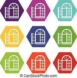Window frame icons set 9 vector