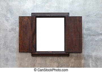 Window frame on cement wall background