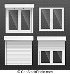 Window frames with blinds or jalousie realistic vector illustration isolated.
