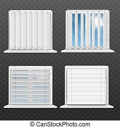 Window frames with white blinds realistic vector mockup illustration isolated.