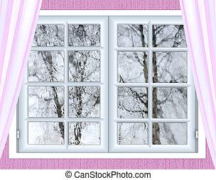 window glass with a drop of rain