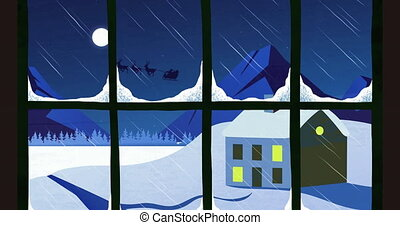 Animation of a black silhouette of Santa Claus in sleigh being pulled by reindeers with full moon seen through window in the background. Christmas festivity concept digitally generated image.